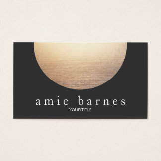 Gold Circle Elegant Minimalist Black Business Card