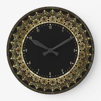 Gold Circle Lace Frame Black Background Large Clock