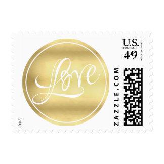 Gold Circle Love Wedding Postage