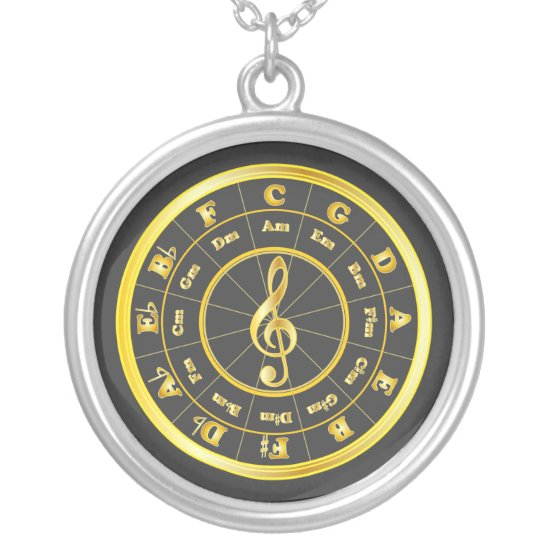 Gold Circle of Fifths Silver Plated Necklace