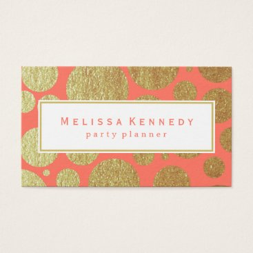Professional Business Gold Circle Pattern Business Cards Coral