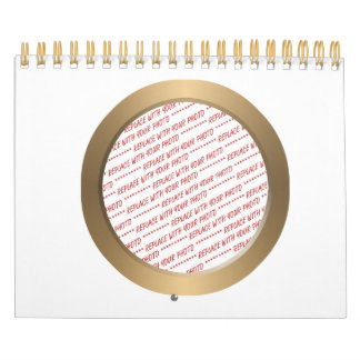 Gold Circle Photo Frame Template Calendar