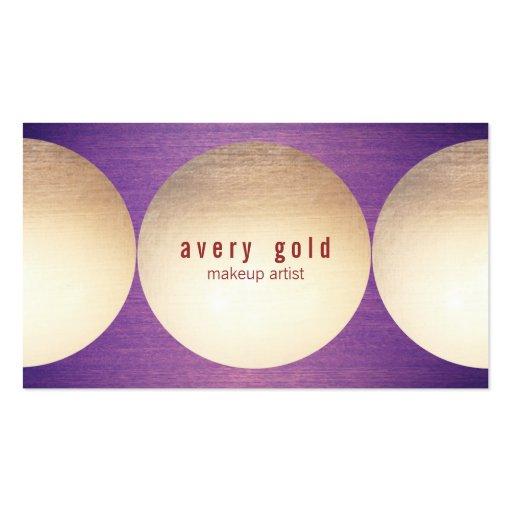 Gold Circle Purple Wood  Modern Beauty Salon Business Cards