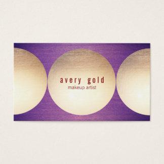 Gold Circle Purple Wood  Modern Beauty Salon Business Card