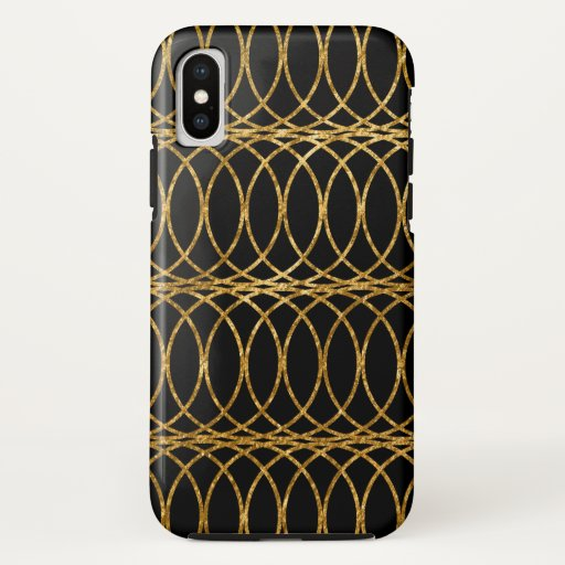 Gold Circle Trellis4 on Black iPhone X Case