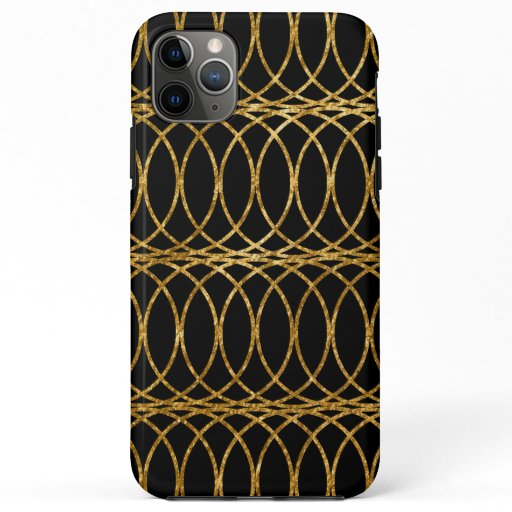 Gold Circle Trellis4 on Black iPhone 11 Pro Max Case