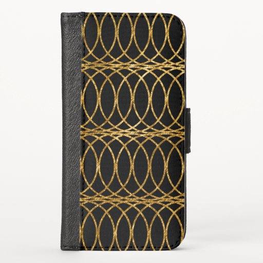 Gold Circle Trellis4 on Black iPhone X Wallet Case