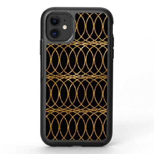 Gold Circle Trellis4 on Black OtterBox Symmetry iPhone 11 Case
