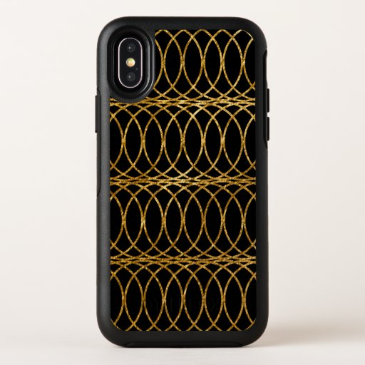 Gold Circle Trellis4 on Black OtterBox Symmetry iPhone X Case