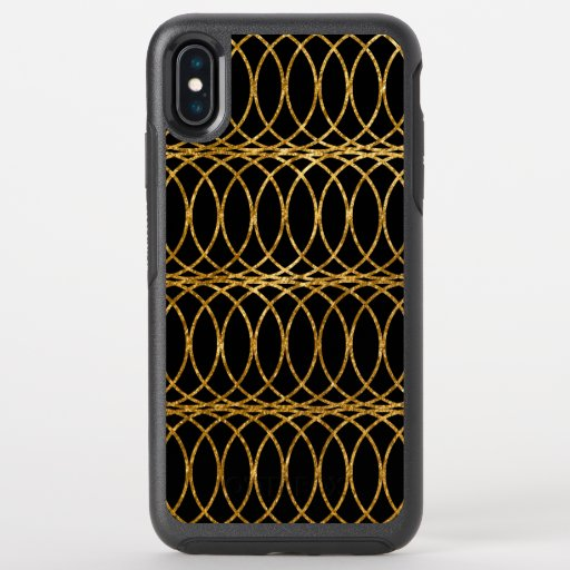 Gold Circle Trellis4 on Black OtterBox Symmetry iPhone XS Max Case