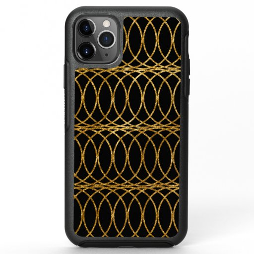 Gold Circle Trellis4 on Black OtterBox Symmetry iPhone 11 Pro Max Case