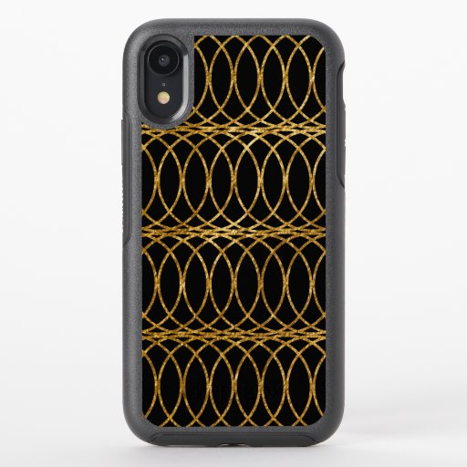 Gold Circle Trellis4 on Black OtterBox Symmetry iPhone XR Case