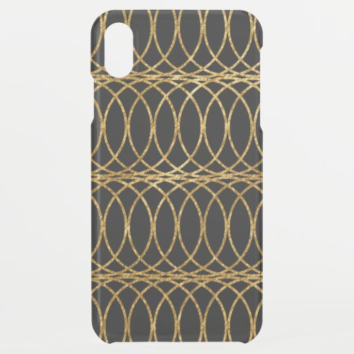 Gold Circle Trellis4 on Black iPhone XS Max Case