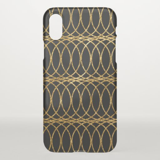 Gold Circle Trellis4 on Black iPhone XS Case