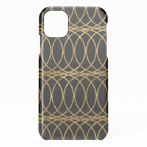 Gold Circle Trellis4 on Black iPhone 11 Case