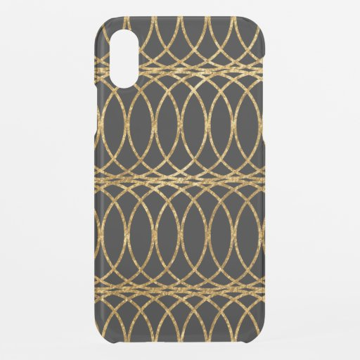 Gold Circle Trellis4 on Black iPhone XR Case