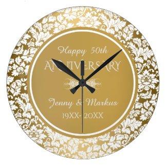 Gold Circle White Damask- 50th Anniversary