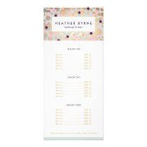 Gold Circles and Confetti Pattern Beauty Salon Rack Card