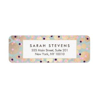 Gold Circles Colorful Confetti Beauty Salon Fun Label