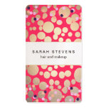 Gold Circles & Colorful Confetti Beauty Salon Pink Double-Sided Standard Business Cards (Pack Of 100)