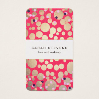 Gold Circles & Colorful Confetti Beauty Salon Pink Business Card