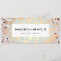 Gold Circles Confetti Salon Spa Gift Certificate