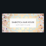 """Gold Circles Confetti Salon Spa Gift Certificate<br><div class=""""desc"""">Stylish,  trendy design of digitally rendered gold leaf circle and colorful confetti pattern on light turquoise blue background. There is no foil or textured surface to this design. Ideal for beauty salons,  spas,  cosmetologists,  boutiques,  designers,  hair and fashion stylists or any other image aware professionals.</div>"""