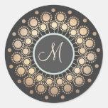 Gold Circles Ornate Monogrammed  Black Classic Round Sticker