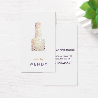 Gold Circles Polish Bottle Nail Salon Manicurist Business Card