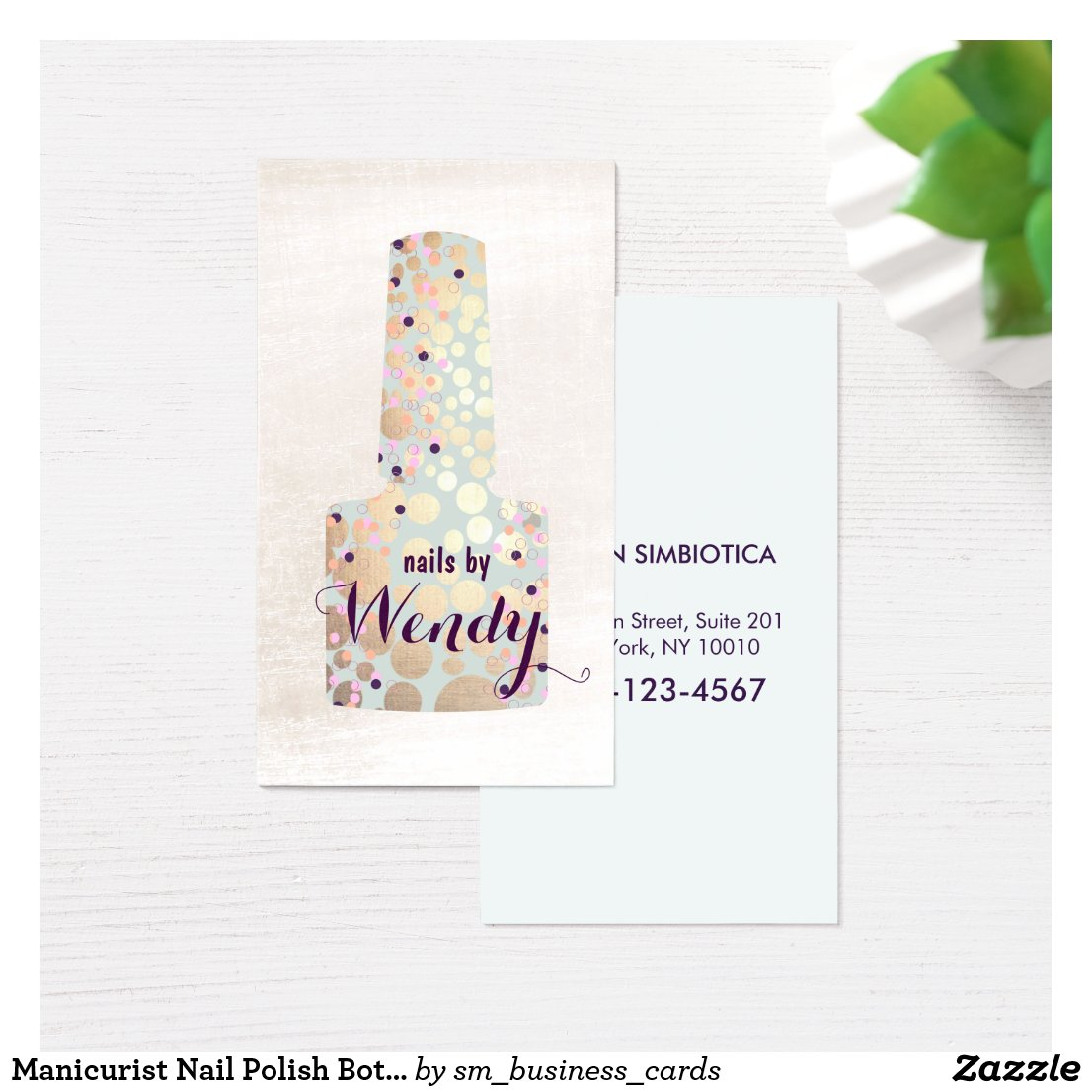 Gold Circles Polish Bottle Nail Salon Manicurist Business Card