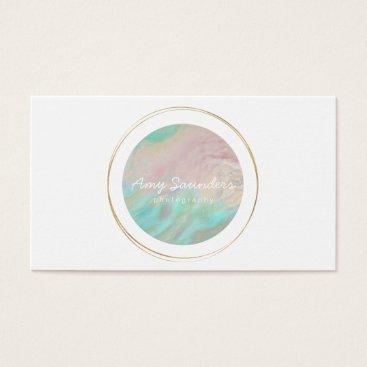 Professional Business Gold Circular Mint Green Opal Design Business Card