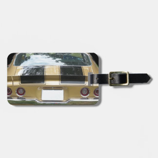 Gold classic 1970 s or 1980 s Muscle Car Luggage Tag