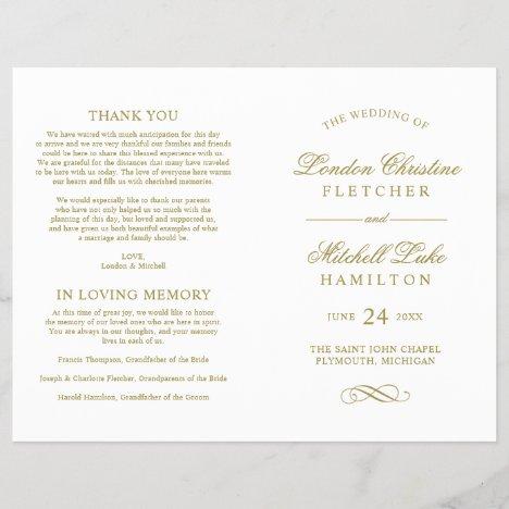 Gold Classic Elegance Wedding Ceremony White