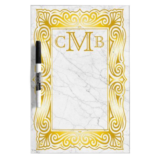 Gold Classic Monogram Elegant Frame White Marble Dry-Erase Board