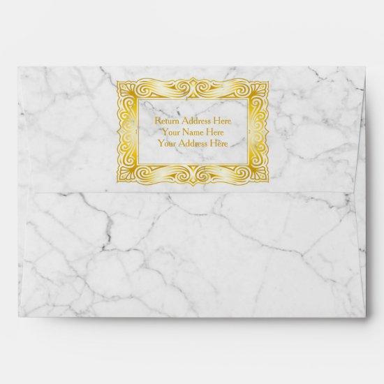 Gold Classic Monogram Elegant Frame White Marble Envelope