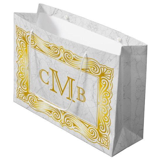 Gold Classic Monogram Elegant Frame White Marble Large Gift Bag