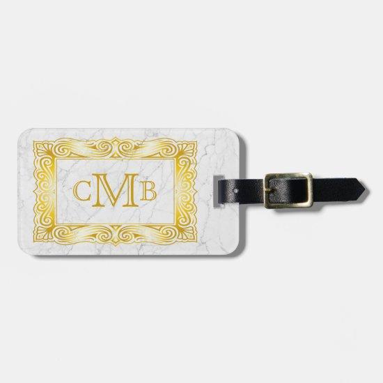 Gold Classic Monogram Elegant Frame White Marble Luggage Tag