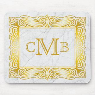 Gold Classic Monogram Elegant Frame White Marble Mouse Pad
