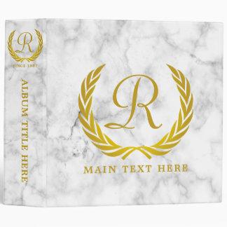 Gold Classic Monogram Laurel Leaf White Marble 3 Ring Binder