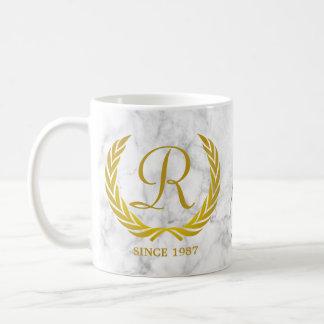 Gold Classic Monogram Laurel Leaf White Marble Coffee Mug