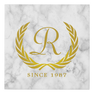 Gold Classic Monogram Laurel Leaf White Marble Faux Canvas Print