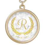 Gold Classic Monogram Laurel Leaf White Marble Gold Plated Necklace