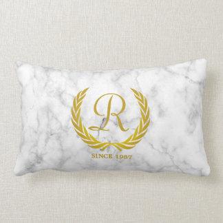 Gold Classic Monogram Laurel Leaf White Marble Lumbar Pillow