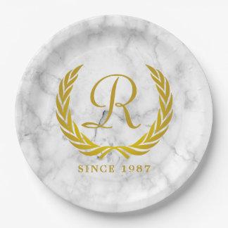 Gold Classic Monogram Laurel Leaf White Marble Paper Plate