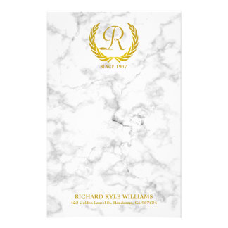 Gold Classic Monogram Laurel Leaf White Marble Stationery