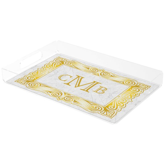 Gold Classic Monogram Ornate Frame White Marble Acrylic Tray