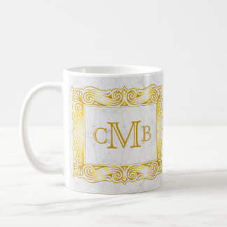 Gold Classic Monogram Ornate Frame White Marble Coffee Mug
