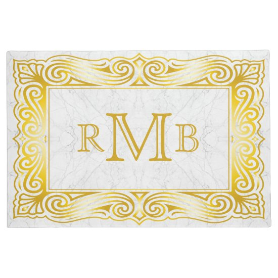 Gold Classic Monogram Ornate Frame White Marble Doormat
