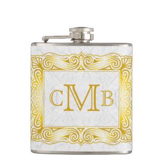 Gold Classic Monogram Ornate Frame White Marble Hip Flask