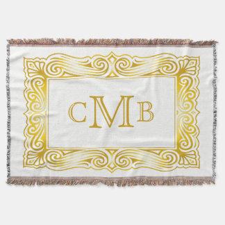 Gold Classic Monogram Ornate Traditional Frame Throw Blanket